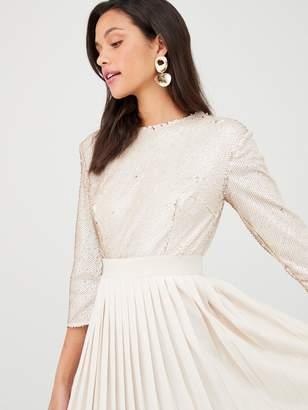 Little Mistress Sequin Pleated Hem Midi Dress - Cream