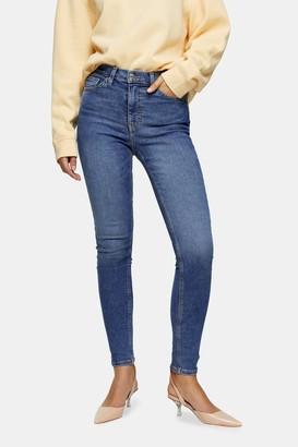 Topshop Womens Mid Blue Jamie Skinny Jeans - Mid Stone