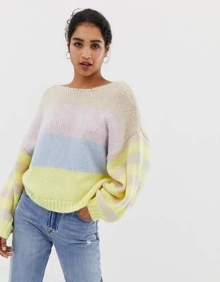 Vila color block stripe balloon sleeve sweater-Multi