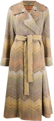 Missoni Woven Zig Zag Coat With Belted Waist