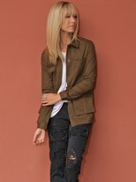 West Coast Wardrobe Woven Jacket with Fringe in Olive