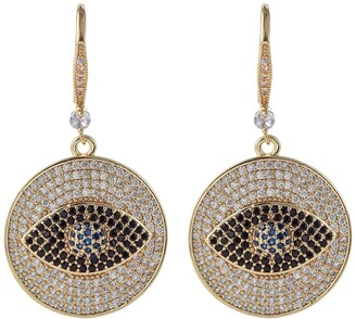 Eye Candy Los Angeles 18K Gold Plated Evil Eye Cubic Zirconia Crystal Drop Earrings