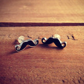 Etsy 1 pair Mustache Earring posts Black Mustache Charm Small Charm Pirate Mustache Vintage Style Pendant