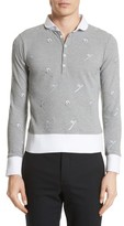 Thom Browne Men's Allover Embroidery Pique Polo