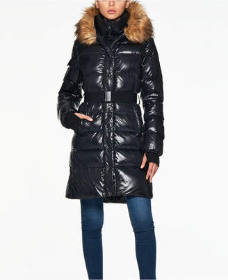 S13 Challet Belted Faux-Fur-Trim Down Puffer Coat