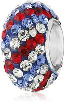 Amazon Collection CHARMED BEADS Sterling Silver Red White and Blue Pave Crystal Bead Charm