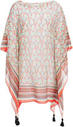Tory Burch Tassel-trimmed Printed Cotton And Silk-blend Voile Kaftan
