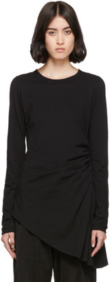 MM6 MAISON MARGIELA Black Ruched Long Sleeve T-Shirt