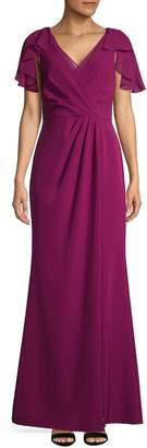 Adrianna Papell Short Flutter-Sleeve Chiffon Gown