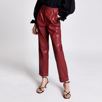 River Island Red faux leather high rise cigarette trousers