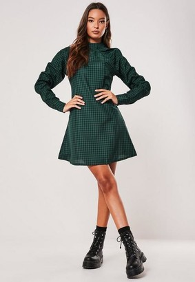 Missguided Green Plaid High Neck A Line Dress