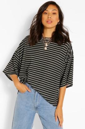 boohoo Striped Short Sleeve Top