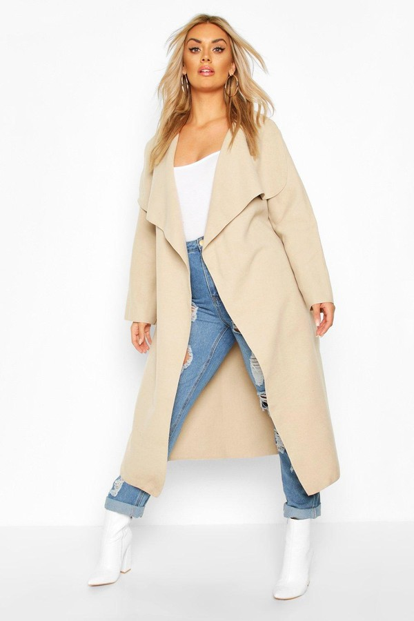 Thumbnail for your product : boohoo Plus Wool Look Coat