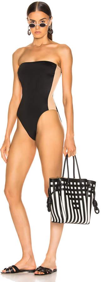 Norma Kamali Side Stripe Bishop Swimsuit in Black   FWRD