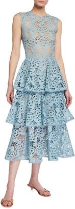 Oscar de la Renta Tiered Eyelet Lace Midi Dress