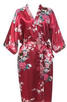EFLM Women's Robes Peacock and Blossoms Silk Nightwear Long Style (XXL, )