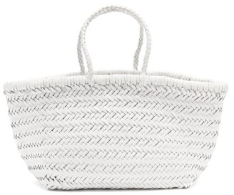 DRAGON DIFFUSION Triple Jump Small Woven-leather Basket Bag - White
