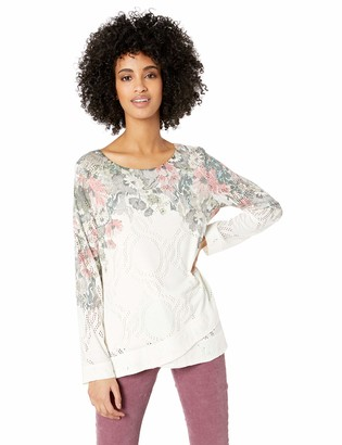 One World ONEWORLD Women's Plus Size Long Sleeve Scoop Neck with Envelope Hem