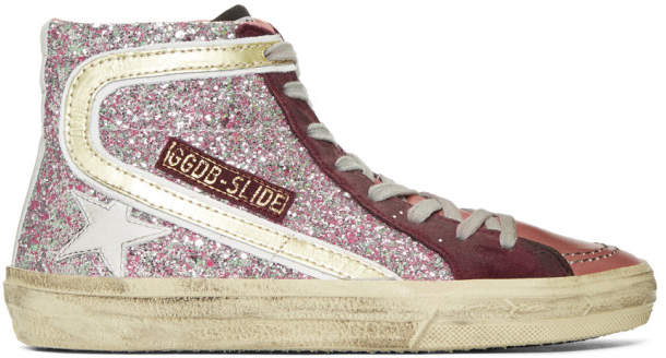 Golden Goose Pink Glitter Slide High-Top Sneakers