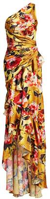 Theia One-Shoulder Ruched Silk Floral Column Gown