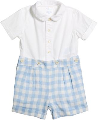 Ralph Lauren Kids Boy's Short-Sleeve Button-Down Shirt w/ Gingham Shorts, Size 6-24 Months