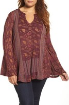Lucky Brand Plus Size Women's Mix Print Peasant Top