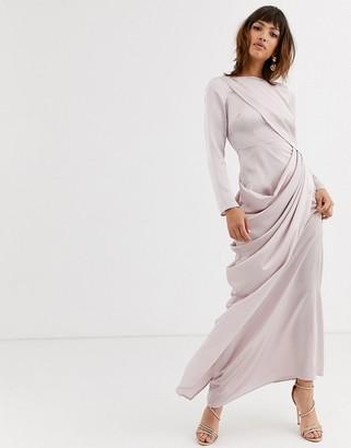 Asos Design DESIGN satin maxi dress with drape layer detail-Grey