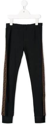 Fendi contrast stripe logo leggings