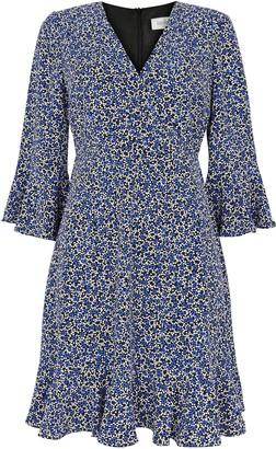Wallis PETITE Blue Ditsy Flute Sleeve Dress