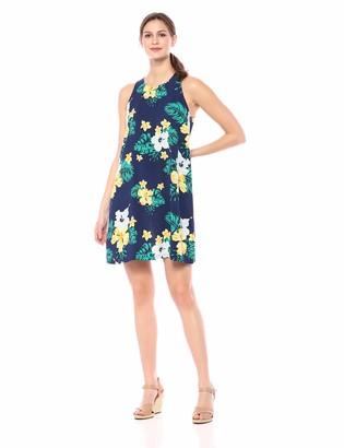 28 Palms Tropical Hawaiian Print Shift Dress Casual Navy Floral XS
