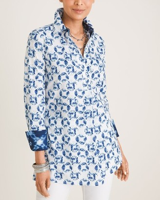 No Iron Cotton-Blend Shell-Print Tunic