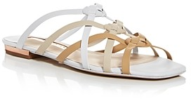Sophia Webster Women's Ramona Tan & White Woven Strap Flat Sandals
