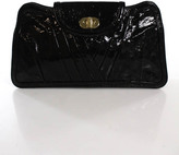 Treesje Black Patent Leather Turn Lock Closure 3 Pocket Clutch Size Medium