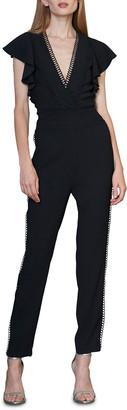 ML Monique Lhuillier V-Neck Flutter-Sleeve Jumpsuit