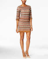 Sandra Darren Striped Bell-Sleeve Shift Dress
