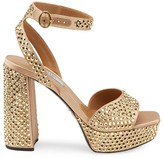 Prada Crystal-Embellished Satin Platform Sandals