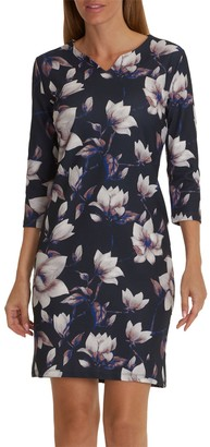 Betty Barclay Floral Print Jersey Dress, Dark Blue/Rose
