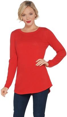 Denim & Co. Essentials Round-Neck Long-Sleeve Tunic Sweater