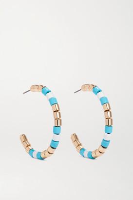 Roxanne Assoulin Poolside Enamel And Gold-tone Hoop Earrings