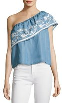 Rebecca Minkoff Rita One-Shoulder Embroidered Top, Light Blue