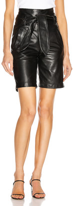 Marissa Webb Brennan Leather Bermuda Short in Black | FWRD