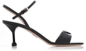 Prada Women's Appliqued Patent Leather Sandals - Black/white - Moda Operandi