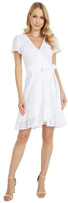 MICHAEL Michael Kors Lace Wrap Dress (White) Women's Dress