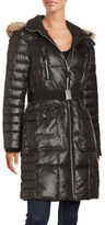 Andrew Marc Adrianne Coyote Fur Trimmed Hooded Belted Down Coat