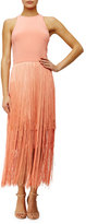 Tamara Mellon Sleeveless Fringe Column Dress, Sunset