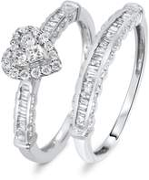 My Trio Rings 2/3 CT. T.W. Diamond Women's Bridal Wedding Ring Set 10K White Gold