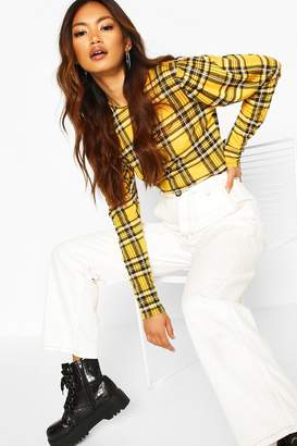 boohoo Check Crew Neck Puff Sleeve Top