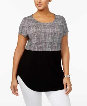Alfani Plus Size Printed Knit T-Shirt, Created for Macy's