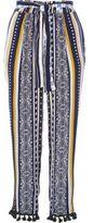River Island Womens Blue stripe pom pom hem tapered pants
