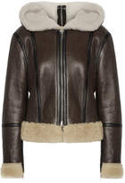Calvin Klein Hooded Leather-trimmed Shearling Biker Jacket - Brown